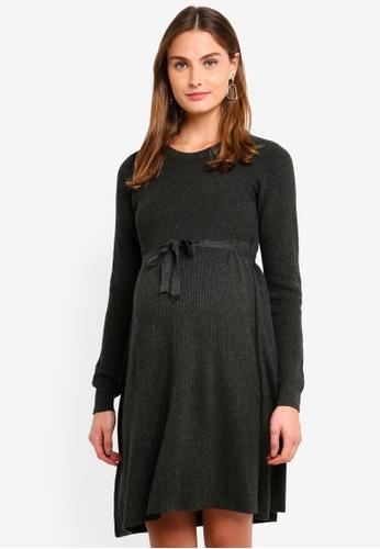 8dd2ba0154 Mama.licious grey Maternity Zoe Long Sleeve Knit Dress A1BBBAA3D05A11GS 1