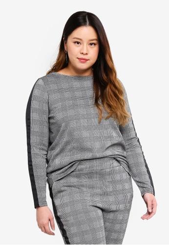 Only CARMAKOMA black Plus Size Detailed Sweatshirt 92E7FAA2BFD732GS_1