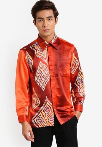 Gene Martino red Long Sleeve Batik Shirt GE222AA96HCXMY_1