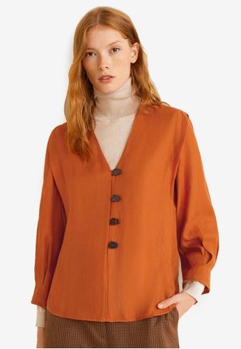 Mango orange Pintuck Detail Blouse 06339AA9F1E9F8GS_1