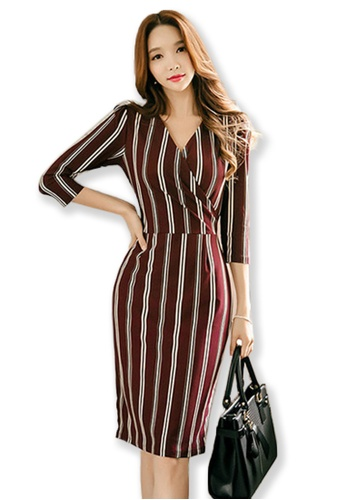 Sunnydaysweety red V Neck Striped Dress UA091909 SU219AA0FUURSG_1