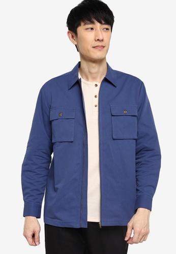 ZALORA BASICS blue Zip Through Jacket D85B1AAEAAF5CAGS_1
