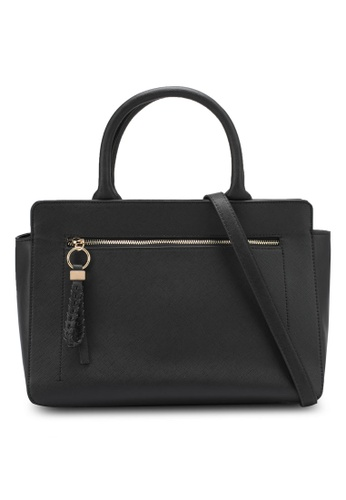 ZALORA black Large Structured Bag With Braided Zip Puller 54D6DZZDB67E60GS_1