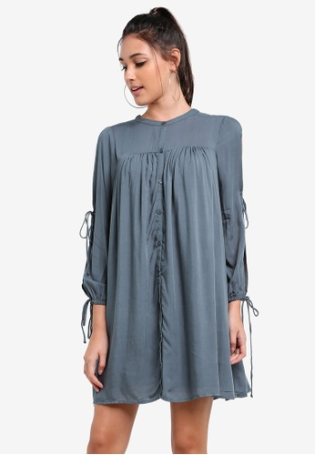 Something Borrowed blue Slit Sleeve Babydoll T-Shirt Dress 79D11ZZ4119203GS_1
