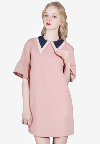 Signature 雙層小尖領迷你連身裙, 服飾,esprit hk 洋裝