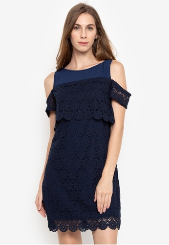 9f69b4a880e3b Shop Pois Cold-Shoulder Dress With Lace Online on ZALORA Philippines