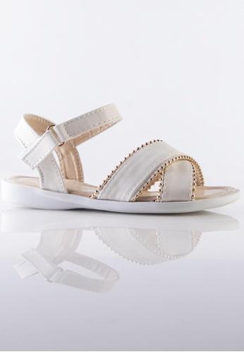 Stilaré white Kids Mia White Studded Sandals D954CKSA81DA09GS_1