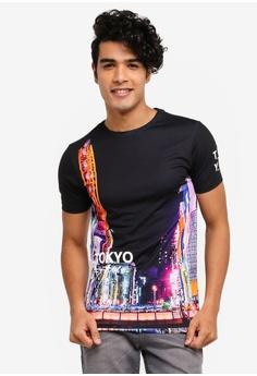 51091fefd River Island black Tokyo Print Muscle Fit T-Shirt B3997AA1398841GS_1