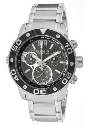 INVICTA black and silver Invicta Reserve Men 47mm Case Silver Stainless Steel Strap Gunmetal Dial Quartz Watch 10589 w/ Cap IN968AC0FGR8SG_1