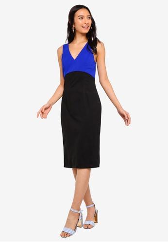 ZALORA black and blue V-Neck Sheath Dress 4C363AACB9F74BGS_1
