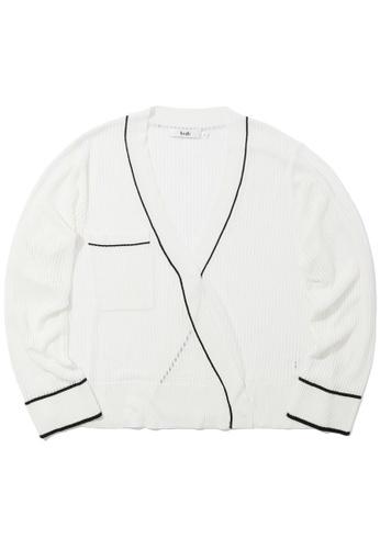 b+ab white Semi-sheer contrast cardigan 1AE0AAAE20DEA2GS_1