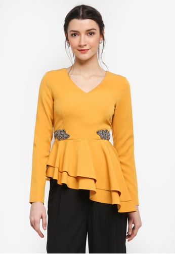 Zalia yellow Asymmetric Peplum Top D5463AAE59C773GS_1