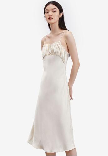 URBAN REVIVO beige Slip Midi Dress D19ABAA9231072GS_1