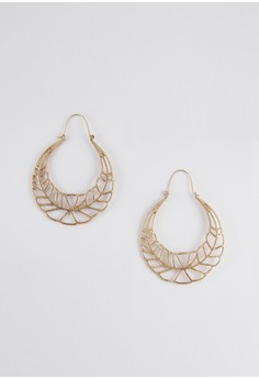 Gold Hoop Alloy Feather Drop Earrings