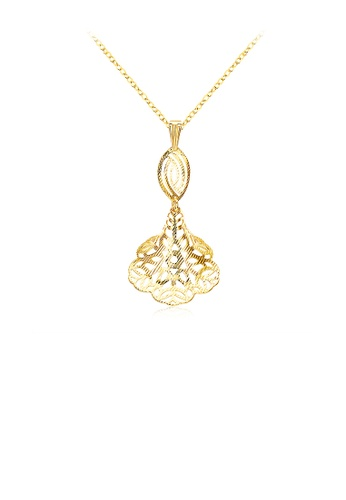Glamorousky silver Fashion Golden Flower Pendant with Necklace 1DDECACCE77715GS_1