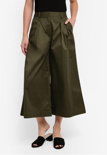 ZALORA green Tailored Cotton Culottes 6AD8CAA136CF00GS_1