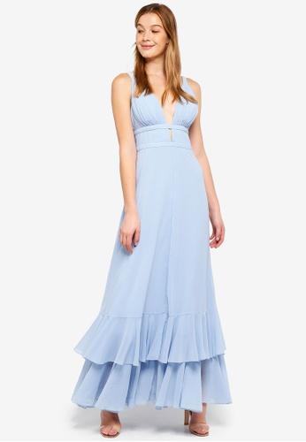 True Decadence blue Plunge Frill Maxi Dress 2B886AA5BB2449GS_1