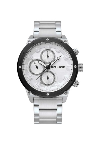 Police black and silver Police Thorpe 46mm - Silver-Tone Case & Bracelet (PL15458JYSTB/04M) 38825AC6B9A04AGS_1