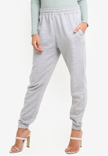 MISSGUIDED grey Grey Marl Basic Joggers 4BA92AA1539174GS_1