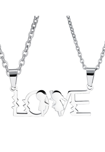 Trendyshop silver LOVE Couples Pendant Necklace Set EDBEDAC162CF58GS_1