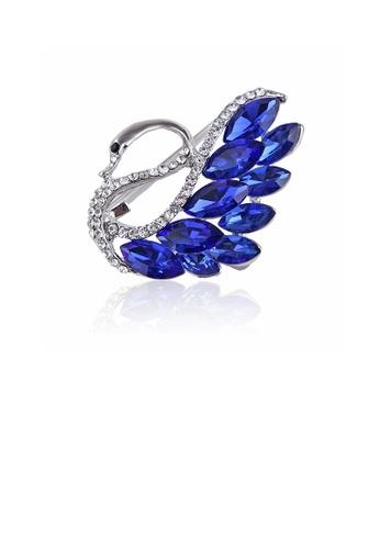 Glamorousky white Fashion Temperament Swan Brooch with Blue Cubic Zirconia 4B436AC76CD337GS_1