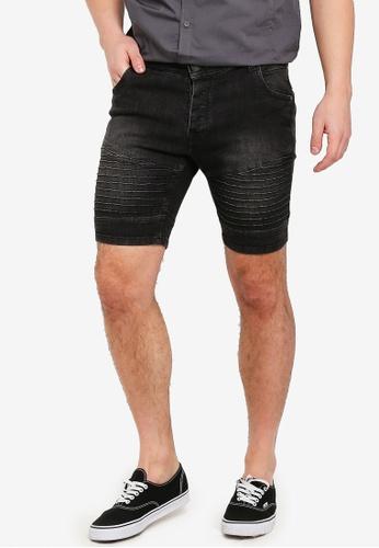 Brave Soul grey Lasike Denim Biker Detail Shorts 93836AA0000DCAGS_1