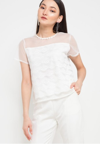 Chic Simple white S/S Pekaboo Lace Blouse With Pearl Detail DF720AA40FDA2DGS_1