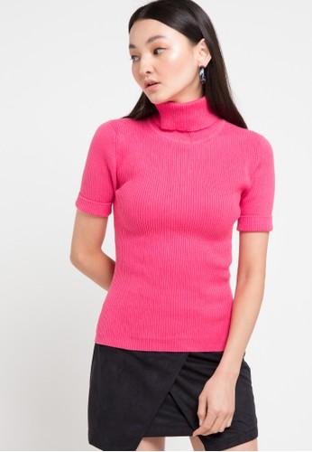 Noir Sur Blanc pink Ladies Turtleneck Short Sleeve 860D6AA0612989GS_1