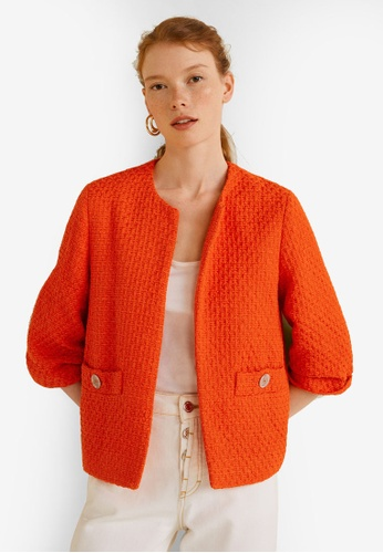 Mango orange Pocket Tweed Jacket E7E0EAAA5B7359GS_1