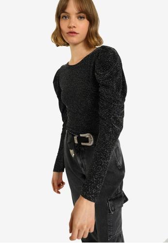 PIMKIE 黑色 金屬感Pattern 公主袖 連身衣 52B2FAACE9E155GS_1