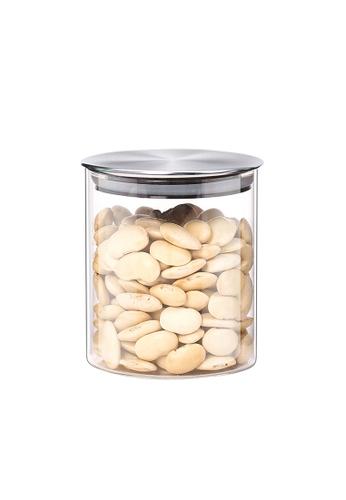 HOUZE HOUZE - 600ml Glass Storage Jar with Stainless Steel Sealed Lid (Dia: 9.5cm) 0FB88HLCF88D1BGS_1