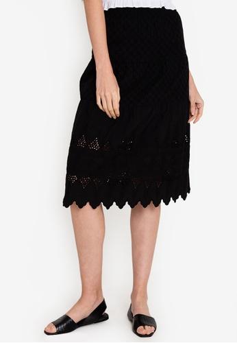 ZALORA BASICS black Broderie Midi Skirt 84F3FAA1398881GS_1