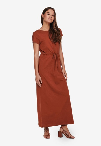 ONLY brown May String Maxi Dress A5A5EAA615AA5BGS_1