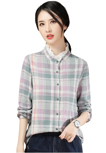 A-IN GIRLS multi Elegant Lace Stand Collar Shirt 57626AA0E0C2EDGS_1