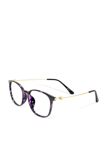 ASLLY purple and multi and gold First love with Red Wine │Anti-blue light glasses with TR90 rectangle frame & amber lenses EF937GL021E27DGS_1