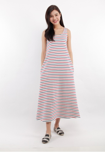 fb45dedfd05 Eighteen Plus white and red and blue Striped Knitted Sleeveless A-line Maxi  Dress D1BE9AAC1E862BGS 1