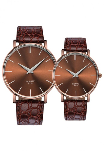 Greatnes Trading Corp brown Nary Lovers' Couple Leather Strap Quartz Wristwatch NR-6110 GR861AC08USTPH_1