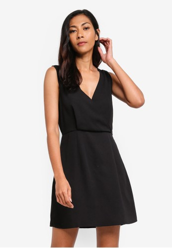 ZALORA BASICS black Basic V-Neck Cross Back Strappy Mini Dress E74D7AAE0B8E00GS_1