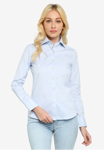 Sacoor Brothers blue Women's Cotton Slim Fit Classic Shirt 194FCAA9DAB986GS_1