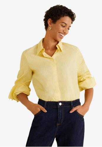Mango 黃色 條紋襯衫 62AA6AAAE503A6GS_1