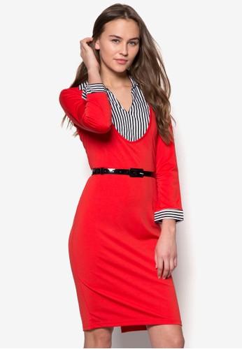 Selena 假兩件貼身襯衫連身裙,esprit 請人 服飾, 服飾