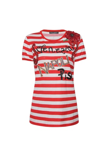 Dolce & Gabbana red Dolce & Gabbana Jewel Embellished Stiped T-Shirt in Red,White 3F33FAAC74B34AGS_1