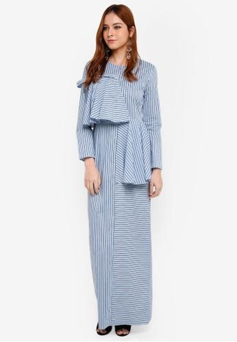 Lubna blue Asymmetrical Dress C74B8AA4DA9B7BGS_1