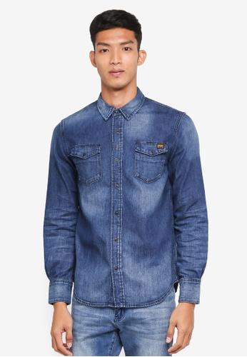 Superdry 藍色 質感長袖牛仔襯衫 97F7BAABF0384CGS_1