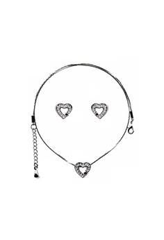 Paris Bijoux ST10919A Set Necklace+Earrings Rhodium Plated - Crystal/Lt. Siam