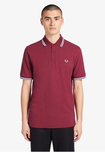 Fred Perry red M12 - Twin Tipped Fred Perry Shirt - (Maroon) C08ABAAD26FB98GS_1