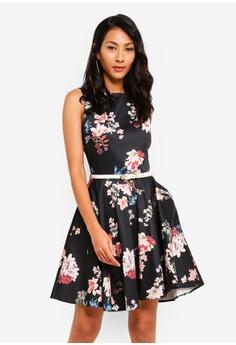 920865e626f3 CLOSET black Skater Belted Dress 646F8AA0BF49DAGS_1