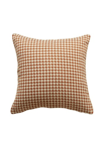 DILAS HOME Her Orange Cushion Cover (Houndstooth) CC04CHL41D1606GS_1