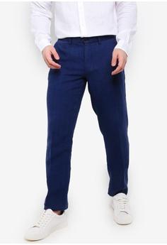 1ff9cba1b0cc MANGO Man navy Slim-Fit Linen Trousers A610EAAF8B5464GS 1