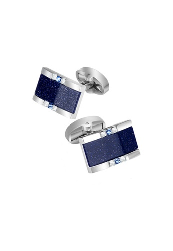 Kings Collection blue Rectangular Space Blue Sand with Crystal Men Cufflinks (KC10027) E13ADACB4F1CACGS_1